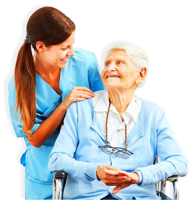 senior woman and a caregiver smiling